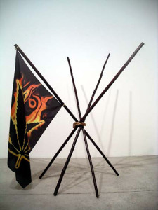 Michael Phelan, You Complete Me, 2006...Dimensions variable...Dyed bamboo, rope and silkscreened silk.