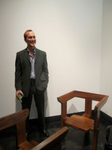 Peter Glassford with his chairs.
