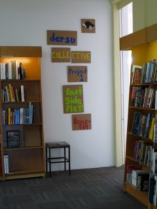 Home-made cardboard outside the Marfa Book Company's Gallery. Image courtesy Nick Terry.