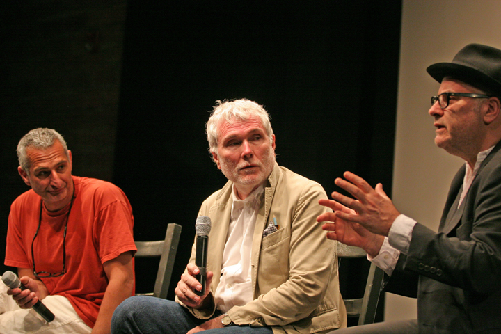 From L to R: Christopher Wool, Glen O&#039;Brien, and Amos Poe in a panel discussion.