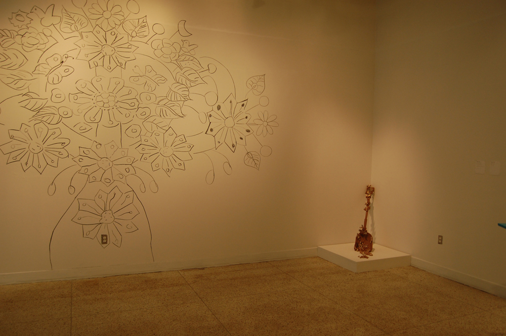 Wall mural and shovel by Margarita Cabrera