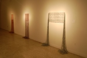 Weavings made with shredded currency by Maximo Gonzalez