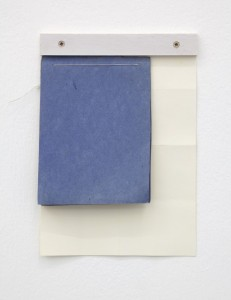 Fergus Feehily, Yard, 2010, Acrylic and found book on paper, oil on wood, screws 8 1/4 x 5 7/8 x 1/4 in. Courtesy Galerie Christian Lethert, Cologne © Fergus Feehily