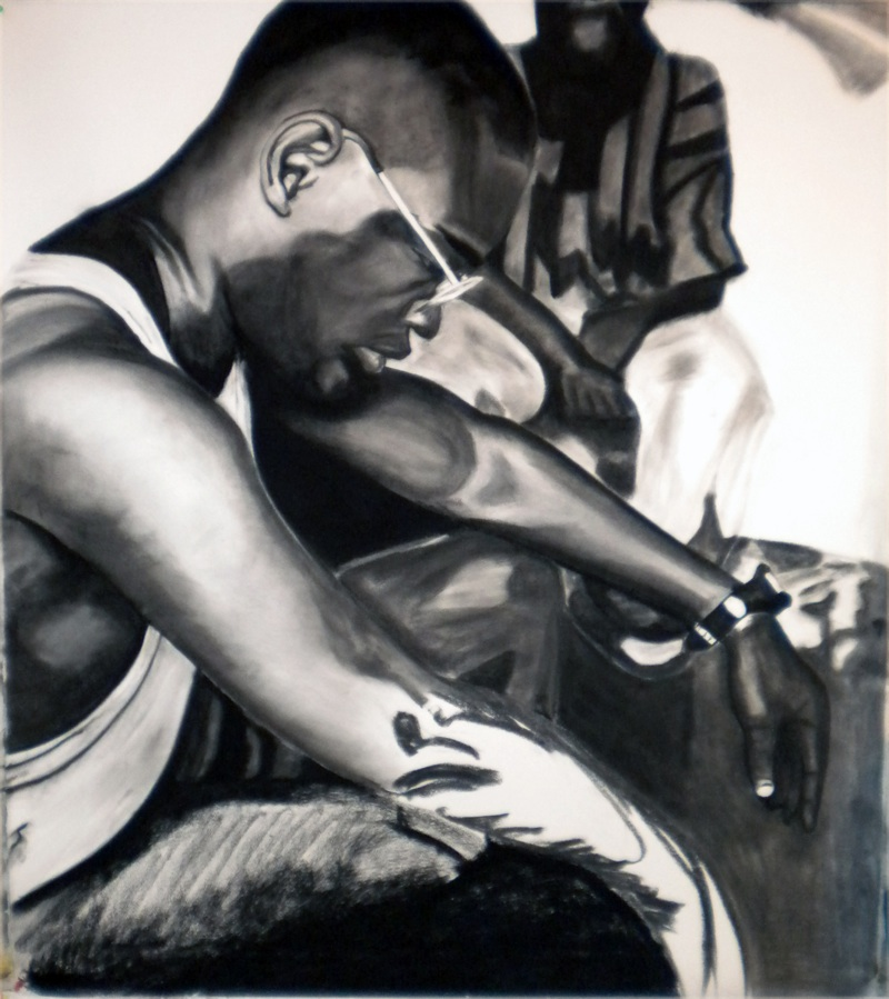 """""""Regis"""" (2009), a drawing of Regis Shephard (1971-2010) by his friend Nate Cassie, from a series entitled """"Be Careful What You Wish For."""" Charcoal on paper."""