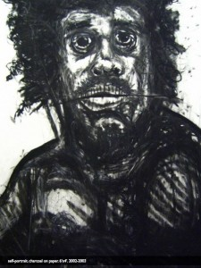 Regis Shephard, Self-Portrait, 2002-2003 charcoal on paper
