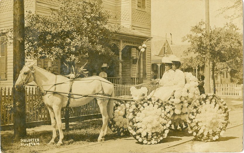 Martha and Pinkie Yates in a buggy decorated for the annual Juneteenth celebration in front 319 Robin St. in the Fourth Ward (c.1895-1905).  Courtesy of Houston Metropolitan Research Center, Houston Public Library.
