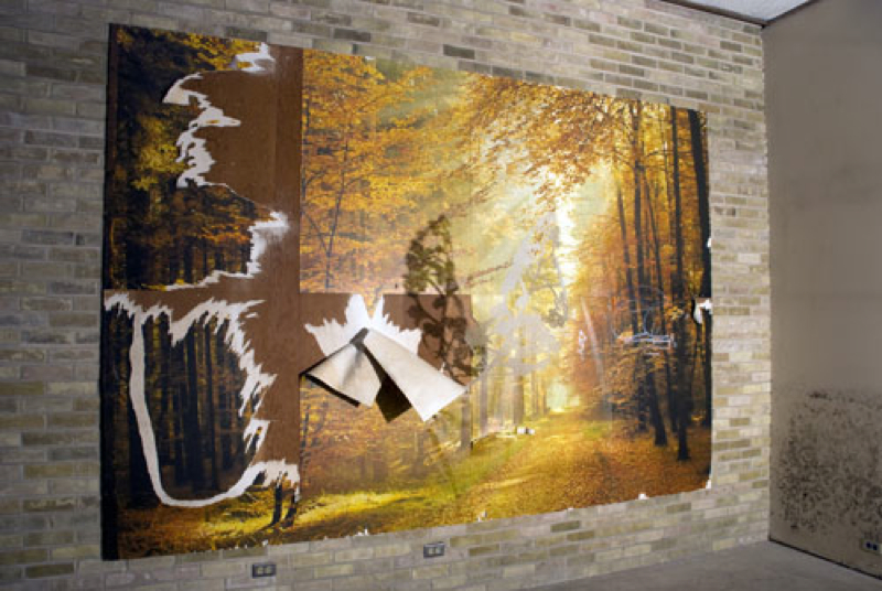 "Lester's 2011 Luminaria Installation, ""Infiltration,"" hand-cut drafting film on found wallpaper mural. My crazy uncle had this same wall mural in his law office when I was a kid."