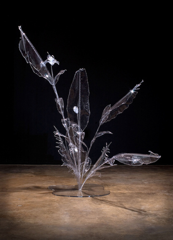 Artificial Arrangement, 2005, hand sewn clear plastic vinyl, plexiglas, thread