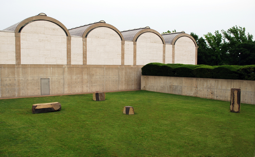"""Constellation"",1983, Isamu Noguchi, Kimbell Art Museum, 3333 Camp Bowie Blvd., Cultural District. Renowned sculptor Isamu Noguchi created ""Constellation"" in honor of his friend, Louis Kahn. Noguchi's four massive basalt rocks were sculpted and personally sited by him on the south side of the museum."