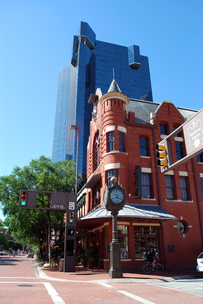 Knights of Pythias Castle Hall, 1901, Marshall Sanguinet and Carl Staats, 315 Main St., Downtown. J.P. Morgan Chase Texas Tower (City Center Tower 1), 1984, Paul Rudolph, 201 Main St., Downtown. Fort Worth is great at mixing the old with the new.  Sundance Square, named after Butch Cassidy's partner, is one of the most successful downtown revitalizations in the country. Many of the buildings in the 14-block entertainment area date back to the turn of the century, including the unmistakable Knights of Pythias Castle Hall. The red brick 	structure was designed by the legendary Marshall Sanguinet and his longtime partner Carl Staats. Together they had one of the largest and most successful architectural practices in Texas.  In the background is the J.P. Morgan Chase Texas Tower designed by Paul Rudolph in 1984. It still dominates the downtown skyline today.