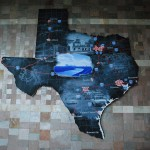 &quot;Modern Texas&quot;, 2005, Vernon Fisher, Fort Worth Convention Center, 1111 Houston St., 2nd floor by the Ballroom on southside of building, Downtown. One of two super-sized blackboard maps of Texas by nationally-recognized Fort Worth artist Vernon Fisher. This map charts the states major cities, highways and prominent Fort Worth landmarks, such as the Fort Worth Live Stock Exchange Building.
