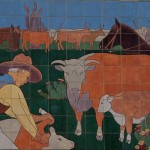 Untitled mural frieze detail, 1936, Kenneth Gale, Will Rogers Memorial Center Coliseum, 3301 W. Lancaster, Cultural District Kenneth Gales tile mural frieze at the top of the Coliseum portrays a visual historical narrative of the early settlement of Texas, from native American Indians to the arrival of railroads.