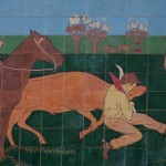 Untitled mural frieze detail, 1936, Kenneth Gale, Will Rogers Memorial Center Auditorium, 3301 W. Lancaster, Cultural District. This companion mural above the Auditorium depicts important events in the heritage of the state, including the landing of the Spanish conquistadors and the establishment of the cattle industry. Be sure to walk around to the backside of the Coliseum and Auditorium to see more Kenneth Gale murals on the Exhibition Barns along Burnett Tandy Dr.