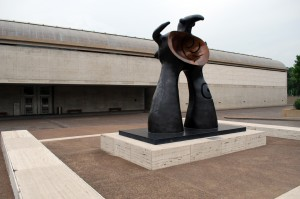 """""""Woman Addressing the Public: Project for a Monument"""", 1981, Joan Miro, Kimbell Art Museum, 1972, Louis Kahn, 3333 Camp Bowie Blvd., Cultural District. Joan Miro's large abstract bronze sculpture greets the visitor outside the entrance of the masterpiece Louis Kahn building. The sculpture was cast in an edition of four in Verona, Italy in 1981. A Renzo Piano-designed addition to the museum is underway and projected to be completed in 2013.  Piano has made a career of designing notable museums throughout the world and was the logical choice for Kimbell expansion project--he was working in the architectural offices of Louis Kahn when the Kimbell was on the drawing board."""