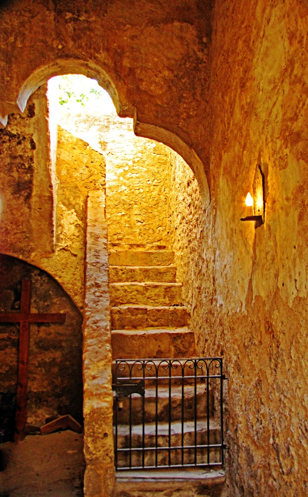 Concepcion stairs and light, Interior detail of Mission Concepción, est. 1716