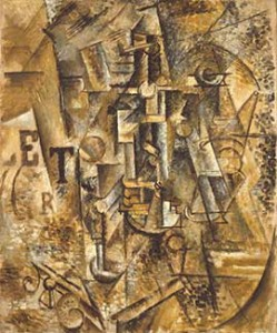 Pablo Picasso, Still Life with a Bottle of Rum, summer 1911, oil on canvas. The Metropolitan Museum of Art, New York. Jacques and Natasha Gelman Collection, 1998. © 2011 Estate of Pablo Picasso / Artists Rights Society (ARS), New York
