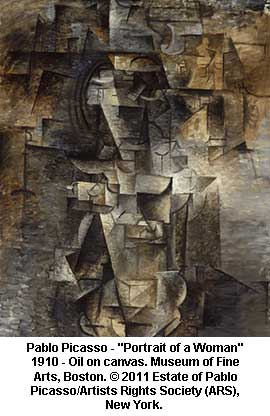 Pablo Picasso, Portrait of a Woman, 1910, oil on canvas. Museum of Fine Arts, Boston.  2011 Estate of Pablo Picasso / Artists Rights Society (ARS), New York