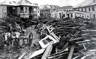 Aftermath of the Galveston hurricane, 1900