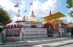 "Orange Show, 1979, Jeff McKissack, 2402 Munger St., Gulf Freeway. Created single-handedly by a retired postman, the Orange Show is one of the most famous folk art sites in America. Jeff McKissack began building his homage to the orange in 1956, using scrap materials and found objects.  In 1979, he declared his ""show"" finished and opened his private fantasyland to the public."