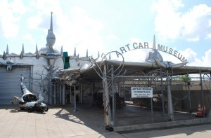 """Art Car Museum, 140 Heights Blvd. For those art car fanatics who can't wait for the next Art Car Parade, look no further than the Art Car Museum.  Ann Harithas, one of the first to present an """"art car"""" in a formal arts venue, opened the museum in 1998 with her husband, James, who is the Director of the Station Museum of Contemporary Art.  Artist David Best created the distinctive museum entrance, using car parts and scrap metal."""