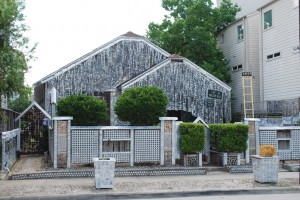 Beer Can House, John Milkovisch, 222 Malone St., Rice Military. In 1968, it was just a modest house in the middle of a neighborhood, but 39,000 cans of beer later, it had turned into an important stop on the tour of Houston's great folk art sites. Clearly, John Milkovisch loved beer more than just drinking it. For twenty years, the retired upholsterer used the cans to ingeniously decorate his home and front yard. Strings of flattened cans dangle from the roof like shimmy fringe. Stacked can bottoms create the front yard fence.  After he died in 1988, his wife and children maintained the curiosity for several years, eventually turning it over to the Orange Show Foundation for keeps.