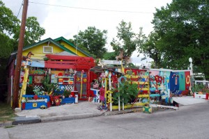 Flower Man's House, 2003-present. Cleveland Turner, 2305 Francis St. Turner spent most of his life as a homeless wino until he found his calling in 2003.  Following a close call with death, he vowed to kick the bottle and get down to the business of building his legendary front yard attraction.  It's in a constant state of becoming, but flowers are always a predominant theme.