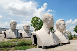Tribute to the American Presidents, David Adickes, Adickes Sculpturworx Studios, 2500 Summer St. It's the only time you'll see Bill Clinton, Martin Van Buren, Barak Obama and George H. Bush all lined up in a row.  Much less 17-feet tall.  David Adickes has made name for himself creating larger than life concrete sculptures of American Presidents and patriots.  The 67-foot tall Sam Houston along I-45 south of Huntsville is his and so were the 43 giant busts at the now defunct President's Park in Williamsburg, Virginia.
