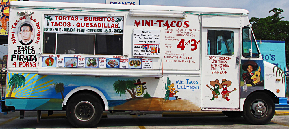 One of many taco trucks to be found all over SA, feeding laborers by day and bar crawlers by night. Mobile food has gone trendily upscale lately, which is cool actually, but down here you're more likely to find tacos al pastor than osso bucco.