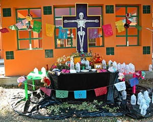 Día de los Muertos is the real, personal, Catholic-but-Mesoamerican thing here. This altar one was outside a retirement home on the largely-Latino West Side. Note completely non-ironic, non-skatepunk/piratical use of skull motif.  It's a beautiful time to be in San Antonio, especially if the tradition resonates with you. You can bring a photo of a loved one and place it on the public altar in Main Plaza or elsewhere, too.