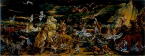 Melissa Miller, The Ark, 1986,  Oil on linen, two panels  Overall 67 x 168 inches (170.2 x 426.2 cm)  Collection of the Modern Art Museum of Fort Worth,  Museum purchase, The Benjamin J. Tillar Memorial Trust,  Acquired in 1986