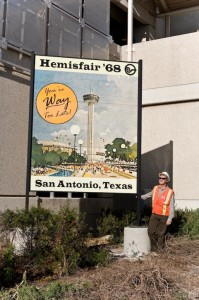 """This is some of my fave public art in SA; Gary Sweeney's series of signs welcoming tourists with gaily designed jokes and implausibilities (one of them features SATX as a """"winter wonderland."""") Gary is a professional baggage handler, go check his vimeo for """"A Short Video About Time."""" (photo by Justin Parr)"""