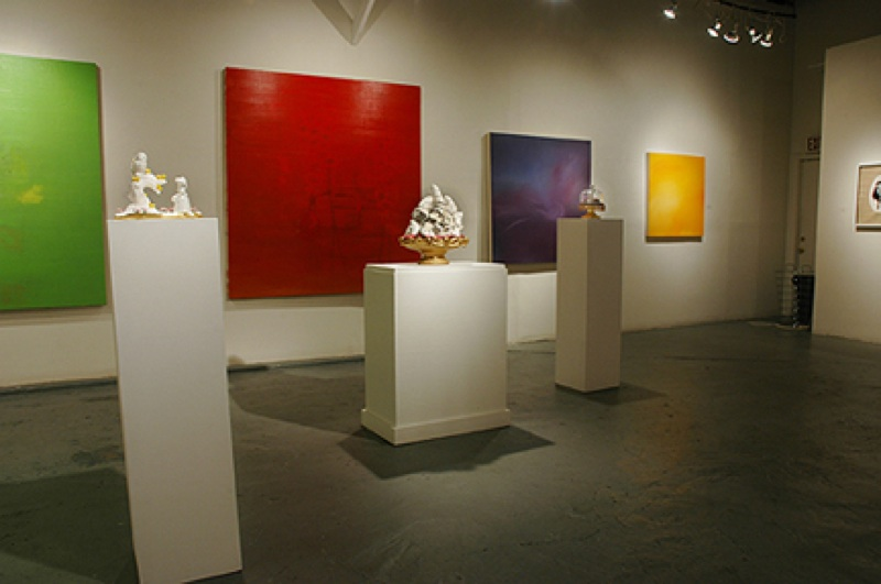 Interior of Joan Grona Gallery, in the Blue Star Complex. The show is by Wesley Harvey, radical ceramicist (in every sense of the word  radical, I mean). (photo courtesy Joan Grona)