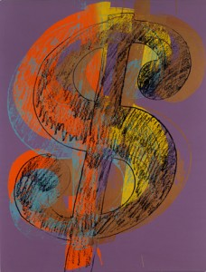 Andy Warhol (American, 1928-1987)  Dollar Sign, 1981   acrylic and silkscreen ink on linen  90 x 70 in. (228.6 x 177.8 cm.)  The Andy Warhol Museum, Pittsburgh; Founding Collection, Contribution, The Andy Warhol Foundation for the Visual Arts, Inc. © The Andy Warhol Foundation for the Visual Arts, Inc.  1998.1.248
