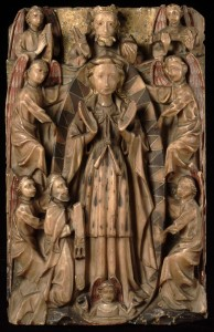 Artist unknown. Panel of the Assumption of the Virgin, later 15th century. Alabaster, 16 3/8 x  10 1/2 inches. On loan from the Victoria and Albert Museum, London. Image courtesy of the Victoria and Albert Museum.