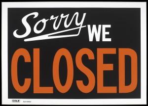 """Sorry We Closed"" Rachel Hecker, 2011.  Acrylic on canvas. Texas Gallery, Houston."