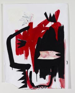"Howard Sherman, Champion island in the Mainstream, 2011, acrylic and marker on paper, 24"" x 18"""