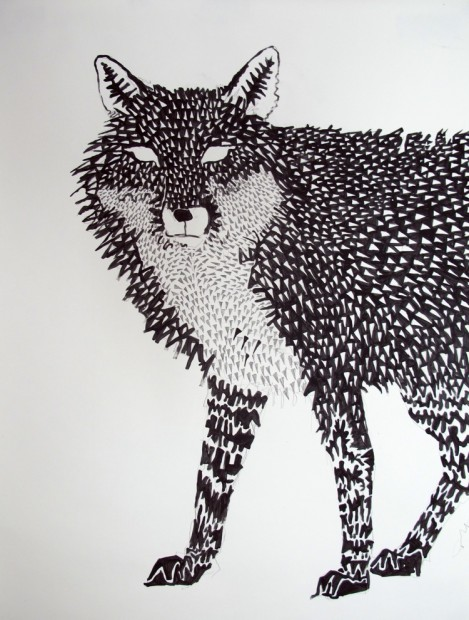 Fox Mask 3, 2011, acrylic on paper