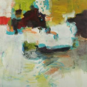 "Terrell James, Pleasure Dome, 2011 acrylic and oil on canvas 30"" x 60"""
