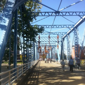 The so-called Blue Bridge is a railroad trestle converted to a pedestrian bridge connecting the Pew campus of Grand Valley State University with the city's central business district. As in year's past, the featured work wasn't particularly engaging, but at least the walk over the river was undeniably pleasant.