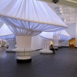 Situ covered the existing columns in fabric to create distorted, playful columns