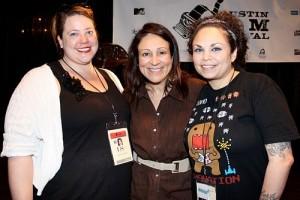 Me, Troublemaker Producer Elizabeth Avellan, and Mariella Sonam Perez at AFF, courtesy of Slackerwood, photo by Debbie Cerda