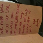 "a note from ""Sandy"" to CHRISTEENE, sorry for sideways orientation"