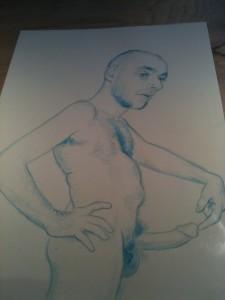 """""""Joe as Robert Rauschenberg, Artist, b. 1925, Port Arthur, Texas"""" (2011) Graphite and ink on paper."""
