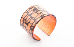 Wide Cuff by dconstruct.  Recycled resin with organic material inset. $36 @ Houston Center for Contemporary Craft.
