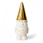 Gnome Cookie Jar. White porcelain with gold hat/lid. 13 tall. $55 @ Contemporary Arts Museum, Houston