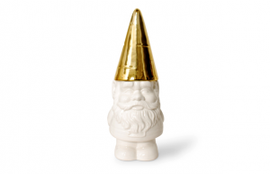 """Gnome Cookie Jar. White porcelain with gold hat/lid. 13"""" tall. $55 @ Contemporary Arts Museum, Houston"""
