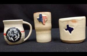Handmade Texas mugs, $15 ea. @ Art Museum of Southeast Texas, Beaumont