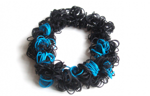 """""""Bubble"""" Necklaces by Margarita Mileva. Made from recycled rubber bands. $85 at Houston Center for Contemporary Craft"""