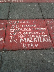 Detail of Anti-Calderon protest in the Zocalo Plaza, summer 2011 (for translation see *below)