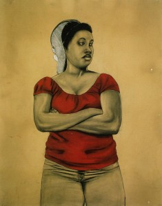 Robert Pruitt, Janus, cont&eamp;, charcoal on hand-dyed paper, 36 x 48 inches